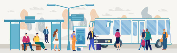 Passengers on City Bus Stop Platform Flat Vector Transporting City Passengers with Bus, Modern Metropolis Public Transport System Flat Vector. Various Male, Female Characters with Baggage Waiting Bus on Outdoor Stop or Station Platform Illustration passenger stock illustrations