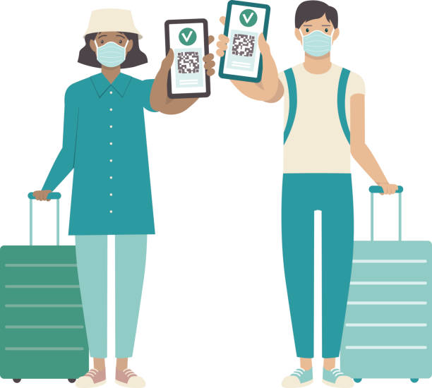 Passengers showing health passport on a mobile phone, which indicates a vaccination against covid-19. Valid digital certificate with qr code. Immunity pass. vector art illustration
