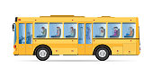 Passengers traveling by public bus. Yellow bus icon isolated on white background. Side view bus. Public transport vector Illustration.