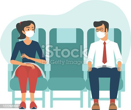 istock Passengers wearing protective masks travelby airplane.New seating regulations on flights.Travel during coronavirus COVID-19 disease outbreak. 1222633351