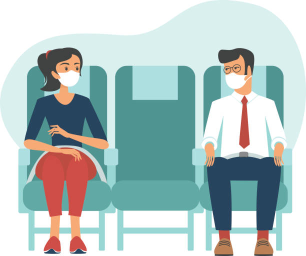 Passengers wearing protective masks travel by airplane. New seating regulations on flights. Travel during coronavirus COVID-19 disease outbreak. vector art illustration