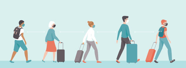 passengers wearing protective medical masks keeping distance in airport departure area. Travel during coronavirus COVID-19 disease outbreak. vector art illustration