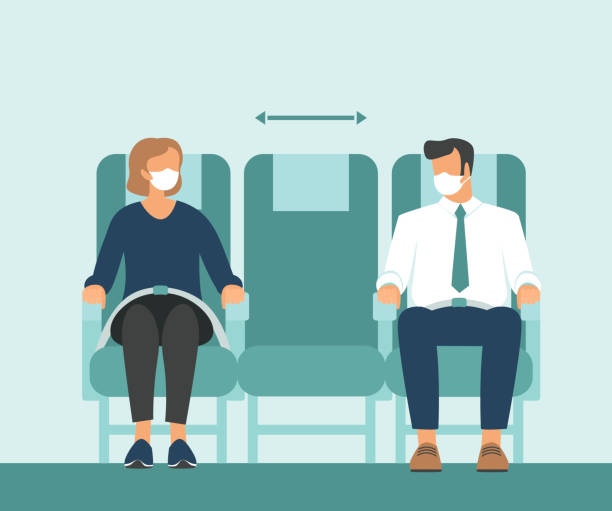 Passengers wearing protective medical masks travelby airplane.New seating regulations on flights.Travel during coronavirus COVID-19 disease outbreak. vector art illustration