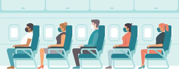 Passengers wearing protective medical masks travelby airplane.Travel during coronavirus COVID-19 disease outbreak. vector art illustration