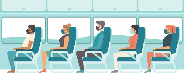 Passengers wearing protective medical masks travelling by bus or train. Travel during coronavirus COVID-19 disease outbreak. vector art illustration