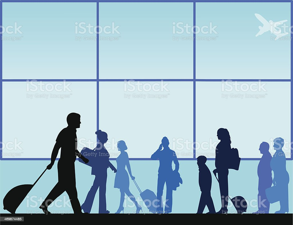 Passengers with luggage in airport lounge vector art illustration