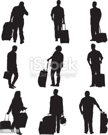 Passengers with their luggage at an airporthttp://www.twodozendesign.info/i/1.png