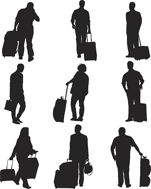 Passengers with their luggage at an airport Passengers with their luggage at an airporthttp://www.twodozendesign.info/i/1.png airport silhouettes stock illustrations