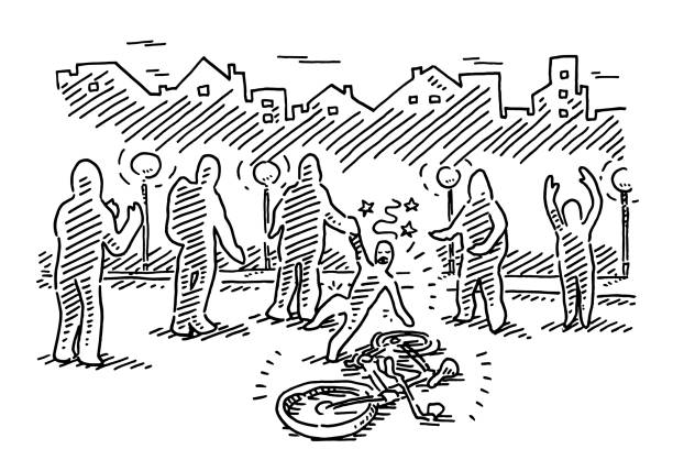 Passersby At Bicycle Accident Drawing Hand-drawn vector drawing of Passersby At a Bicycle Accident in a city street scene at night. Black-and-White sketch on a transparent background (.eps-file). Included files are EPS (v10) and Hi-Res JPG. cycling stock illustrations