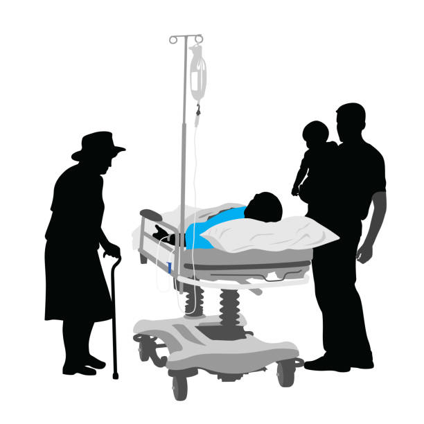 passing away - old man sick hospital bed silhouette stock illustrations, clip art, cartoons, & icons