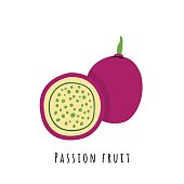 Passion fruit flat vector illustration. Cartoon slices of exotic, tropical fresh fruit. Clipart with typography. Isolated icon for healthy cooking menu, logo design element