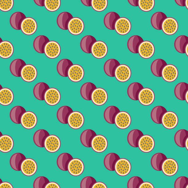 illustrations, cliparts, dessins animés et icônes de fruit de la passion fruit seamless pattern - fruit de la passion
