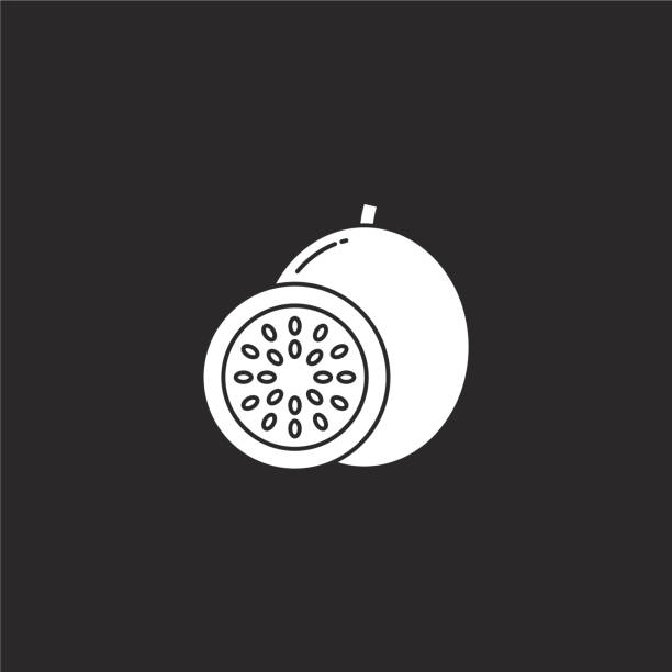passion fruit icon. Filled passion fruit icon for website design and mobile, app development. passion fruit icon from filled fruit collection isolated on black background. passion fruit icon. Filled passion fruit icon for website design and mobile, app development. passion fruit icon from filled fruit collection isolated on black background. avocado designs stock illustrations