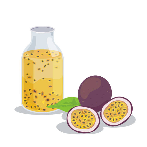 illustrazioni stock, clip art, cartoni animati e icone di tendenza di passion fruit2 - passiflora