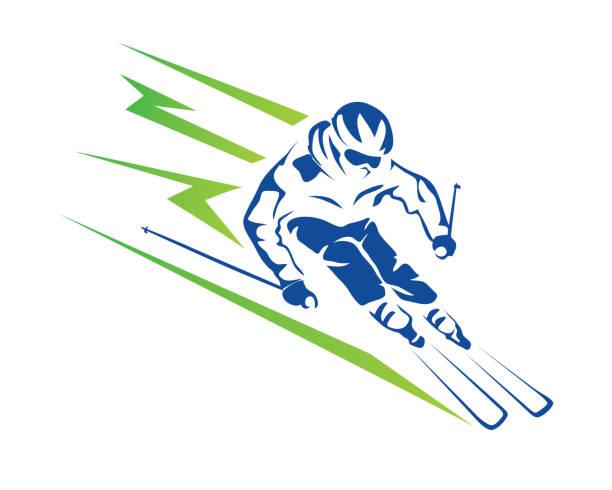 illustrazioni stock, clip art, cartoni animati e icone di tendenza di passionate high speed downhill ski player athlete in action illustration - negozio sci