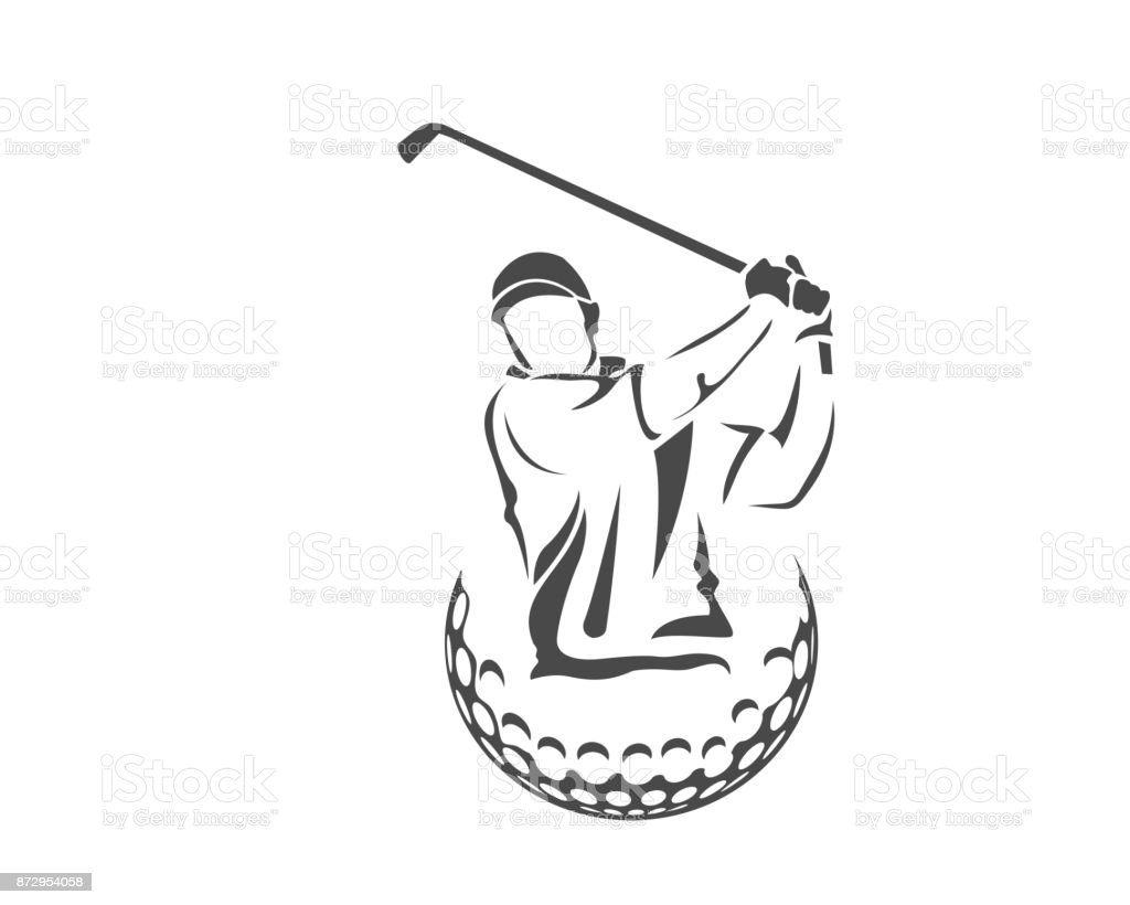 情熱的なプロのゴルフ選手イラスト - アイコンのロイヤリティフリーベクトルアート