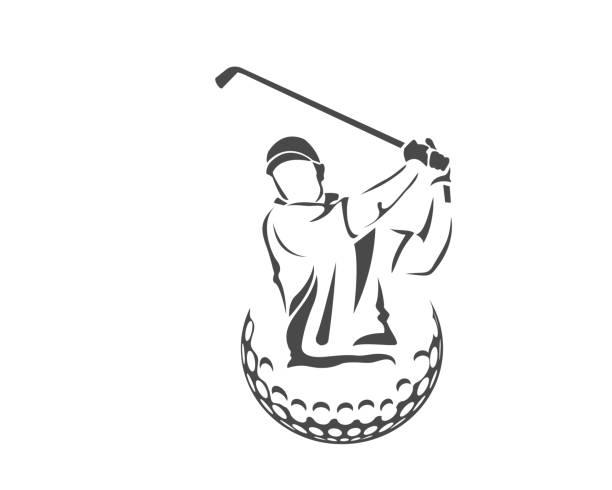 stockillustraties, clipart, cartoons en iconen met gepassioneerde golftoernooi atleet illustratie - kampioenschap