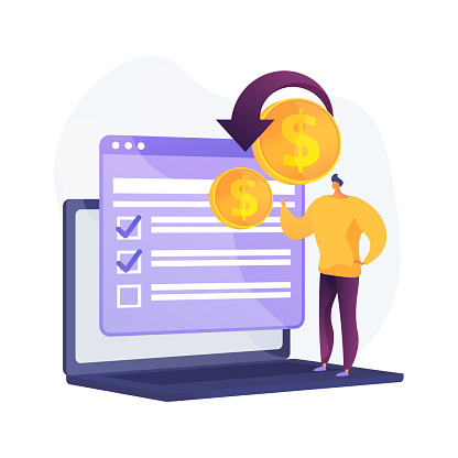 Passive earning. Personal bank account. Forex exchange. Crowdfunding, fund raising, investment transfer. Receiving income online. Payback with internet. Vector isolated concept metaphor illustration.