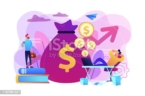 Stock market investing, online monetization. Remote job, freelance work. Passive income, rental activity income, passive income investment concept. Bright vibrant violet vector isolated illustration