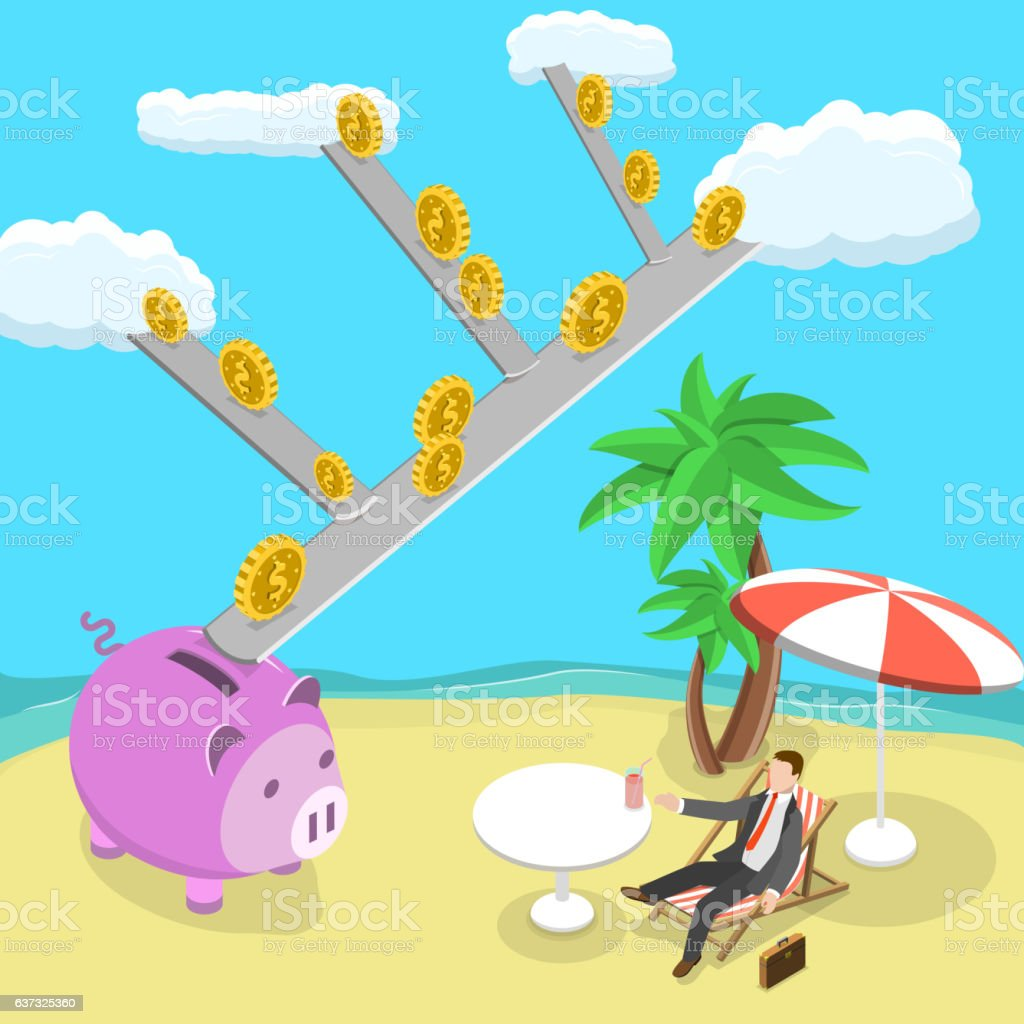 Passive income flat isometric vector illustration. vector art illustration