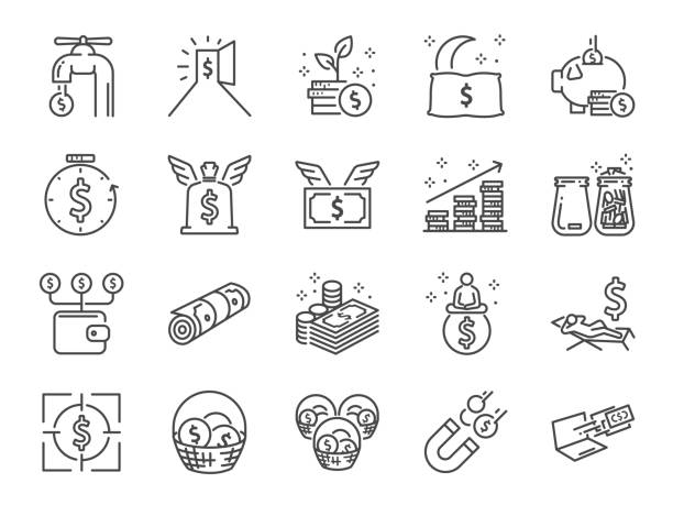 Passive income line icon set. Included the icons as Financial freedom, expenses, fee, investing and more Passive income line icon set. Included the icons as Financial freedom, expenses, fee, investing and more millionnaire stock illustrations
