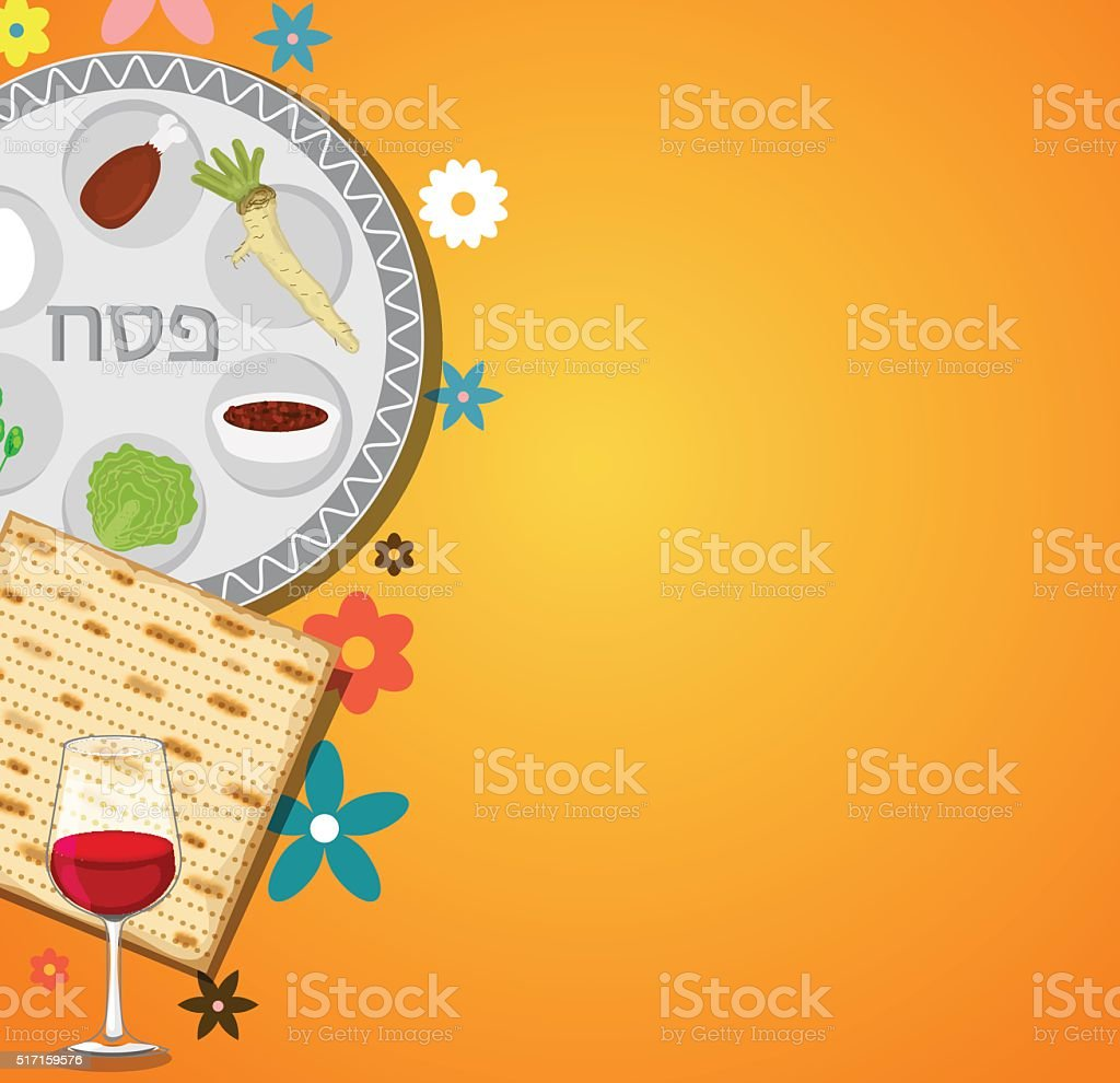 Passover dinner , seder pesach. background with passover plate and traditional vector art illustration