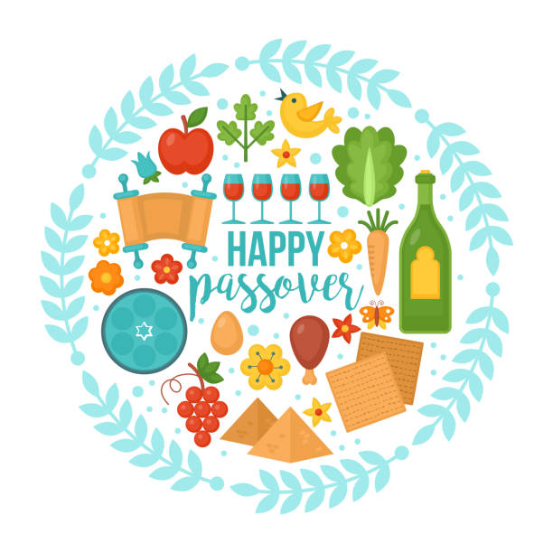 passover greeting card design - passover stock illustrations, clip art, cartoons, & icons