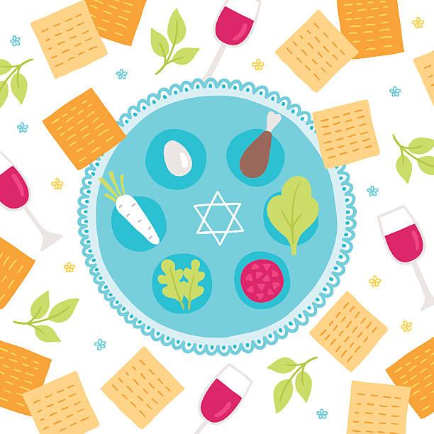 Passover greeting card Passover greeting card seder plate stock illustrations