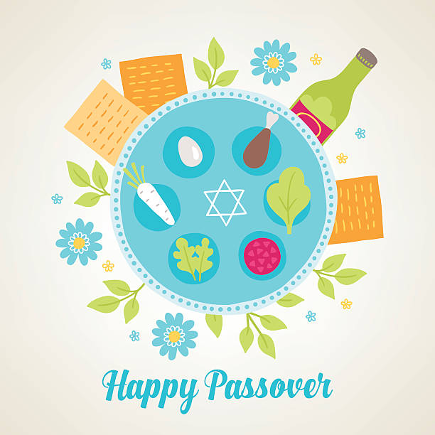 passover greeting card with jewish holiday symbols - passover stock illustrations, clip art, cartoons, & icons