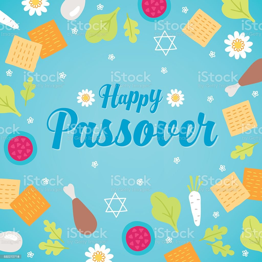 Passover Greeting Card With Traditional Pesach Food And Flowers
