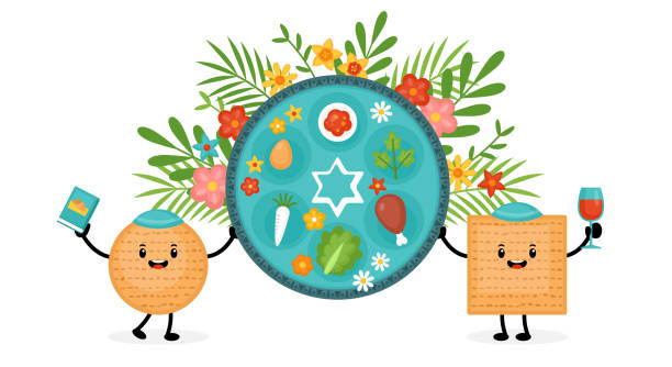 Passover holiday banner design with matzah funny cartoon characters and traditional seder plate. Passover holiday banner design with matzah funny cartoon characters and traditional seder plate. Vector illustration seder plate stock illustrations
