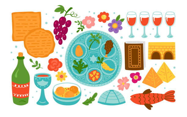 Passover holiday cute elements set. Passover holiday cute elements set. Childish print for cards, invitations and stickers. passover stock illustrations