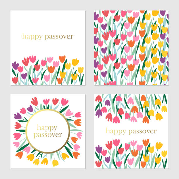 Passover holiday cute greeting cards set with spring flowers. Passover holiday cute greeting cards set with spring flowers background. Springtime concept. Childish print for cards, invitations and banners. passover stock illustrations