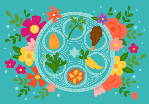 Passover holiday cute traditional seder plate and spring flowers. Passover holiday cute traditional seder plate and spring flowers. Childish print for cards, invitations and banners. seder plate stock illustrations