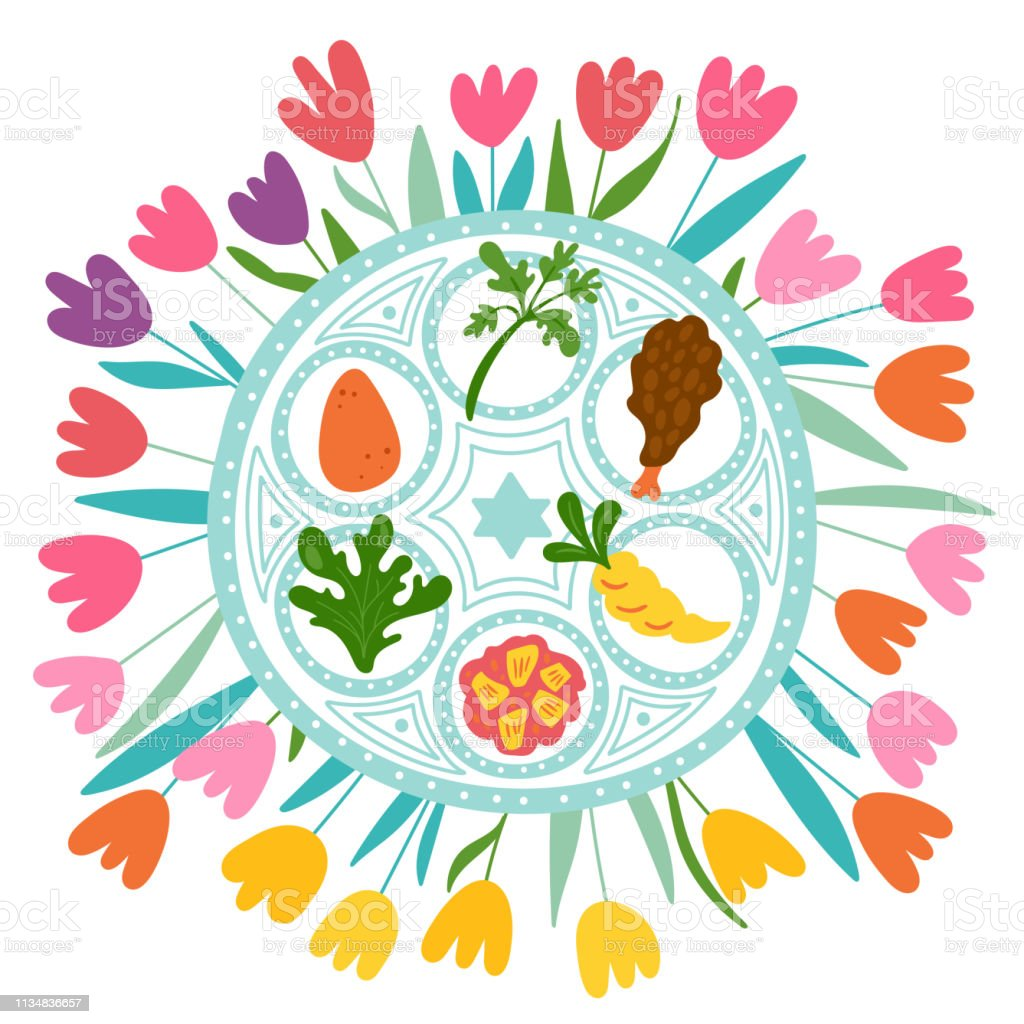 Passover holiday cute traditional seder plate and spring flowers. vector art illustration