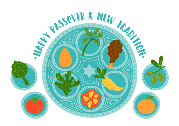 Passover holiday cute traditional Seder plate with new tradition. Passover holiday cute traditional Seder plate with new tradition. Childish print for cards, invitations and stickers. seder plate stock illustrations