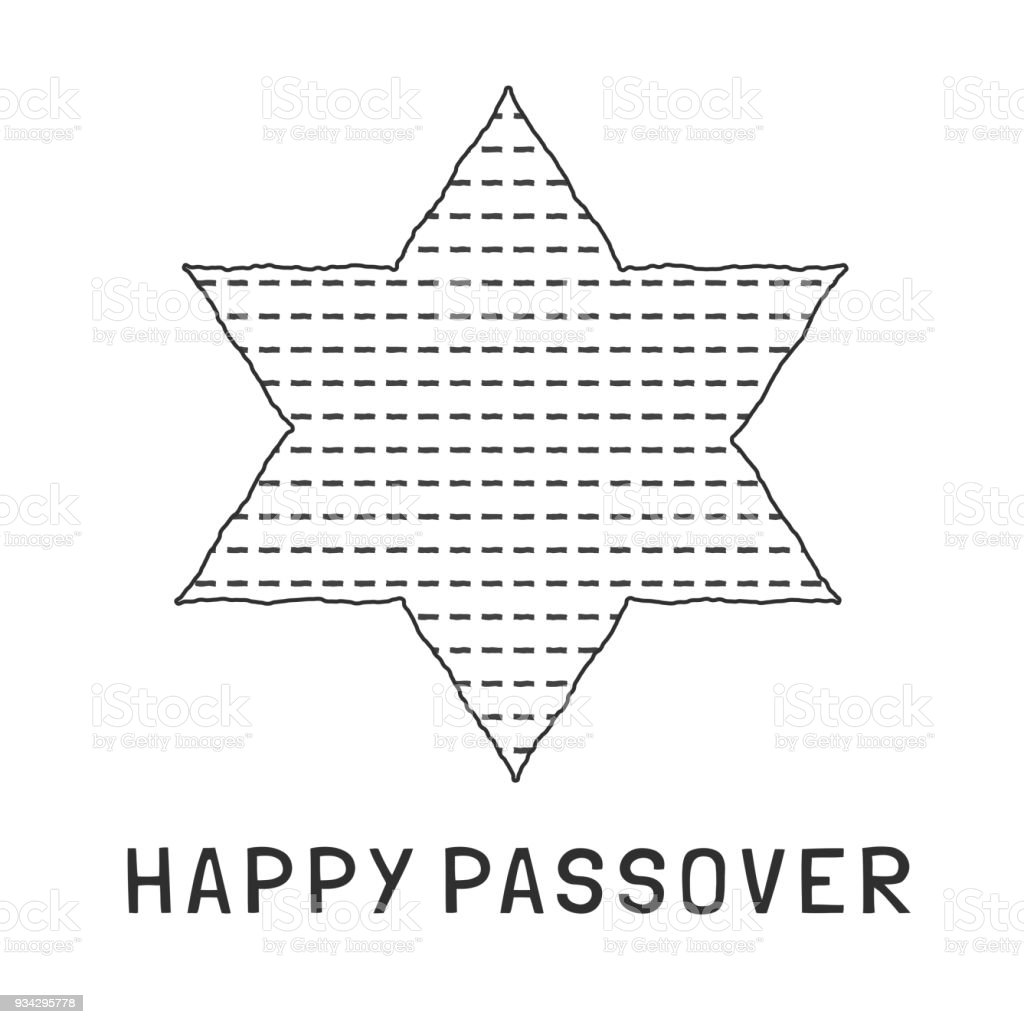 Passover Holiday Flat Design Black Thin Line Icons Of Matzot In Star