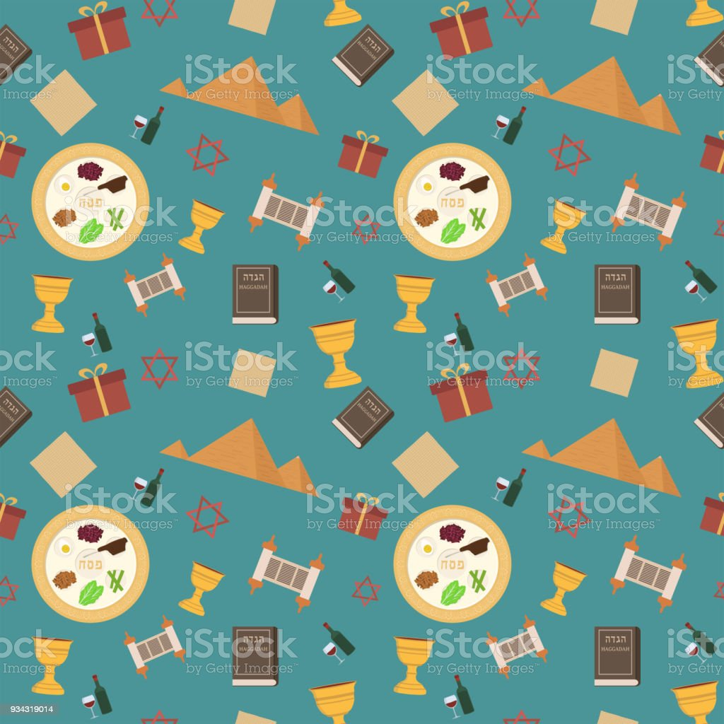 Passover holiday flat design icons seamless pattern vector art illustration