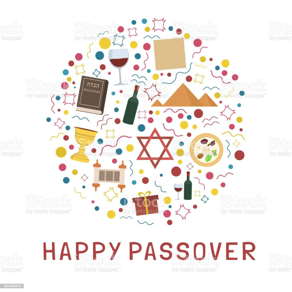 Passover Holiday Flat Design Icons Set In Round Shape With Text In