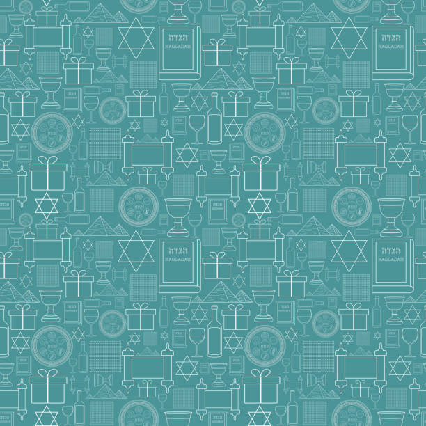 Passover holiday flat design white thin line icons seamless pattern Passover holiday flat design white thin line icons seamless pattern. passover stock illustrations
