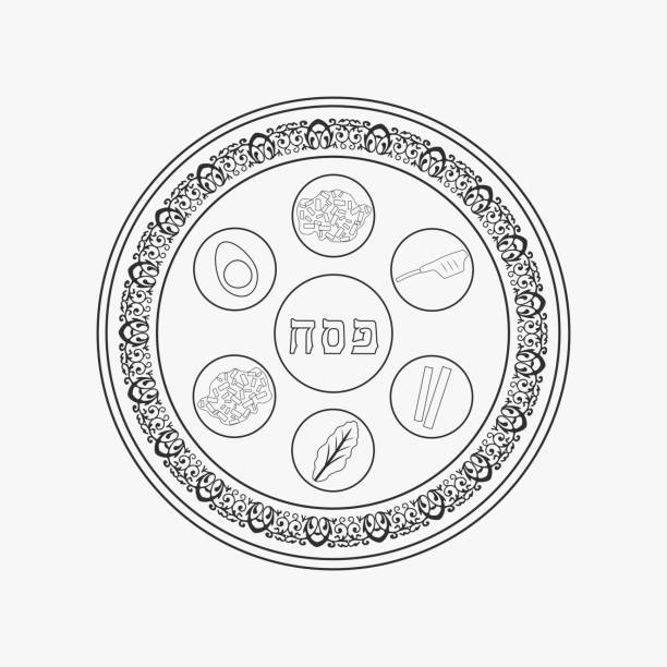 Passover holiday seder plate flat black outline design icon Passover holiday seder plate flat black outline design icon. seder plate stock illustrations