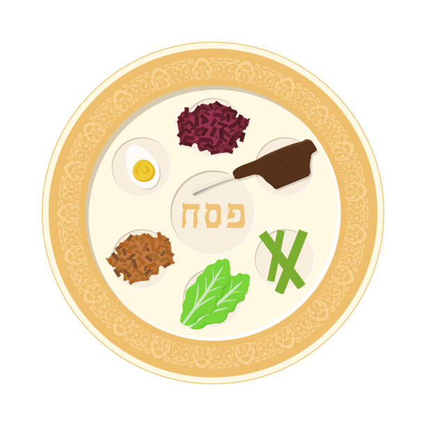 Passover holiday seder plate flat design icon Passover holiday seder plate flat design icon. seder plate stock illustrations