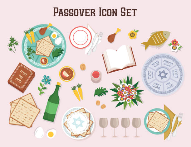 Passover icon set with Seder plate Hagadah and wine-Vector Passover icon set-Seder plate, Hagadah,wine-Vector Illustration passover stock illustrations