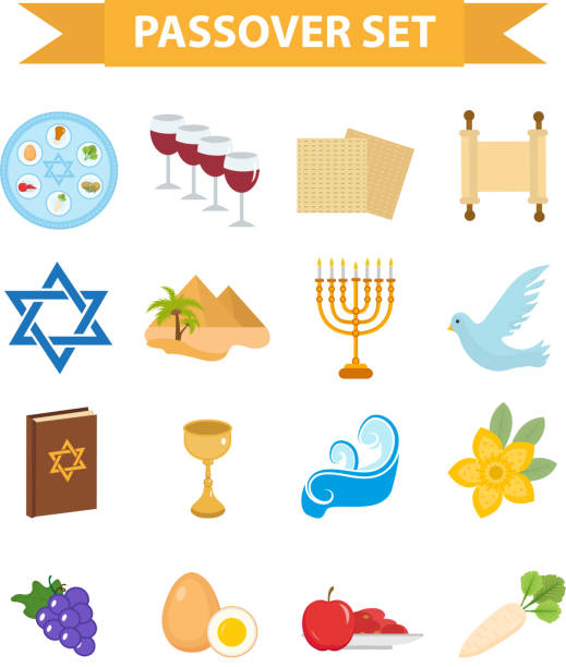 passover icons set. flat, cartoon style. jewish holiday of exodus - passover stock illustrations, clip art, cartoons, & icons