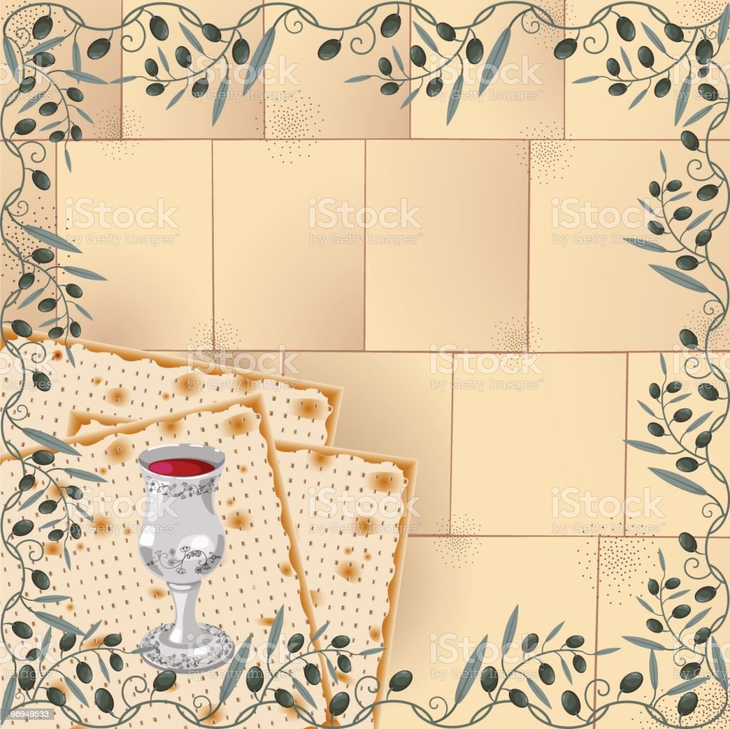 Passover Illustration With Wailing Wall Background, Olive Frame, Matzah, Wine royalty-free passover illustration with wailing wall background olive frame matzah wine stock vector art & more images of backgrounds