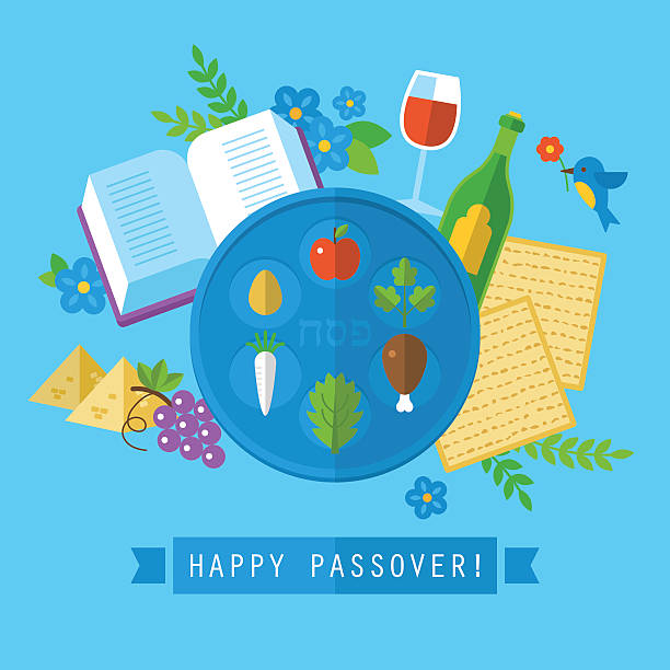 passover jewish holiday design with flat stylish icons. isolated - passover stock illustrations, clip art, cartoons, & icons