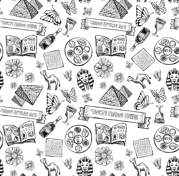 passover jewish holiday pattern in doodle style - passover stock illustrations, clip art, cartoons, & icons