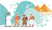 Passover. Jews Walking Through the Parted Sea