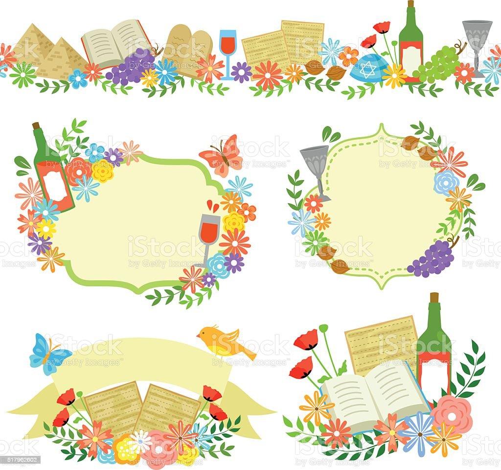 Páscoa judaica rótulos - ilustração de arte em vetor