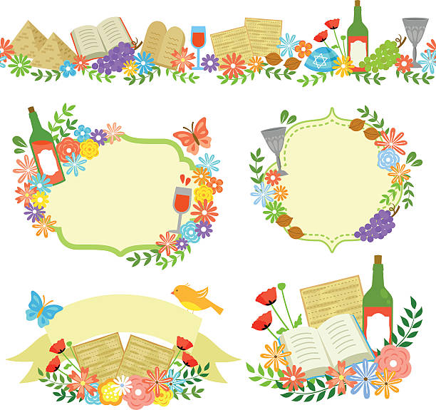 passover labels - passover stock illustrations, clip art, cartoons, & icons